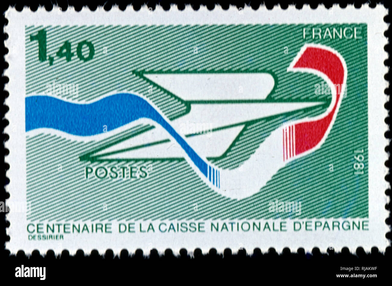 French postage stamp celebrating the centenary of Groupe Caisse d'epargne, a French semi-cooperative banking group, founded in 1818, - Stock Image