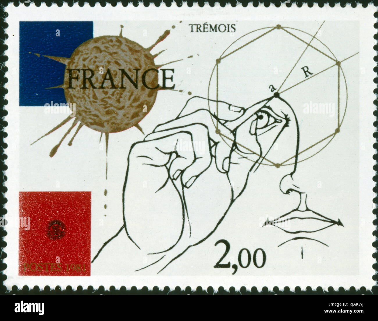 French postage stamp commemorating Pierre-Yves Tremois (born 8 January 1921 in Paris), a French visual artist and sculptor. He is known for evocative works drawing in equal proportions on surrealism and science illustration - Stock Image