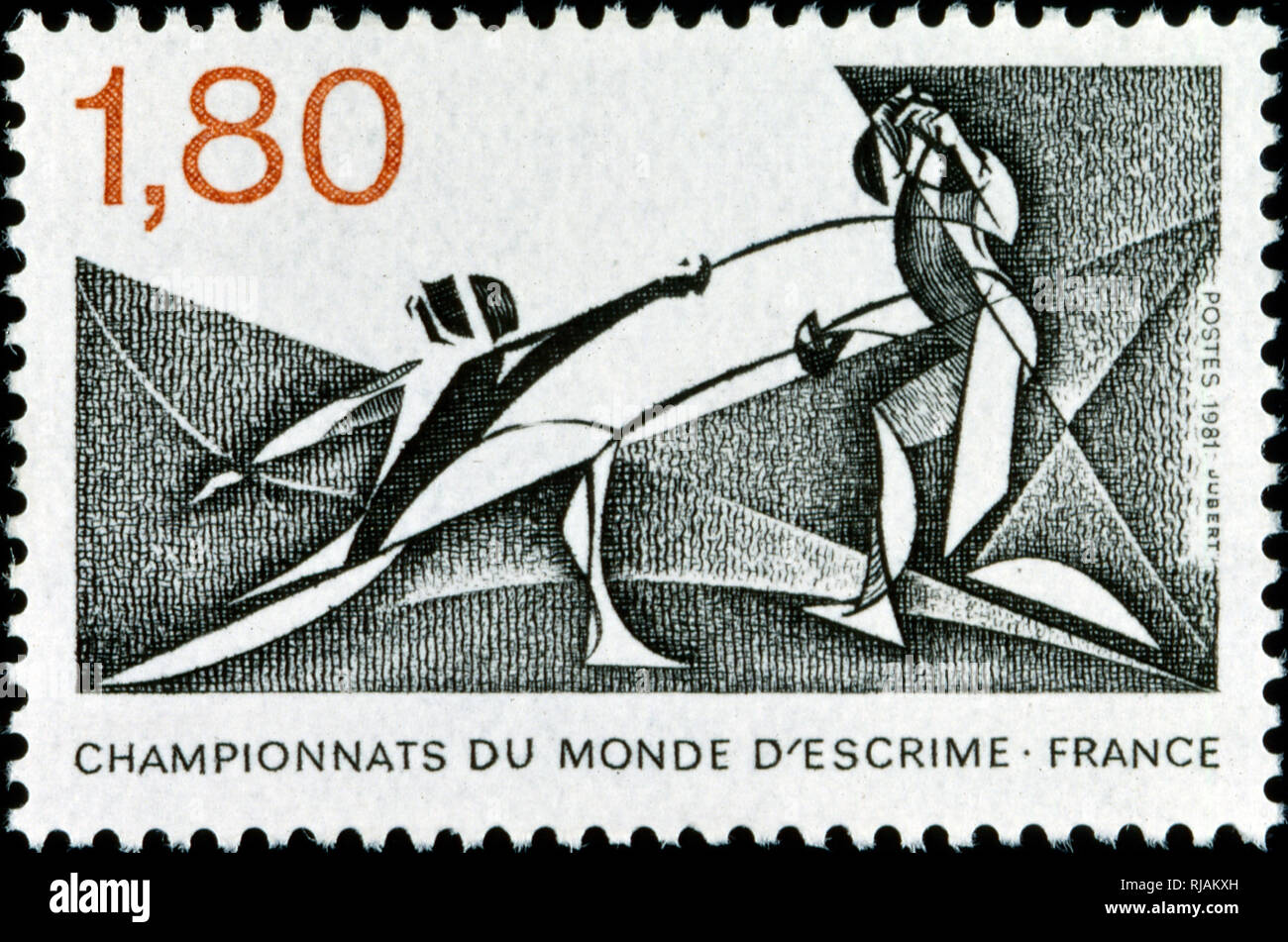 French postage stamp commemorating the world fencing championship 1982 - Stock Image