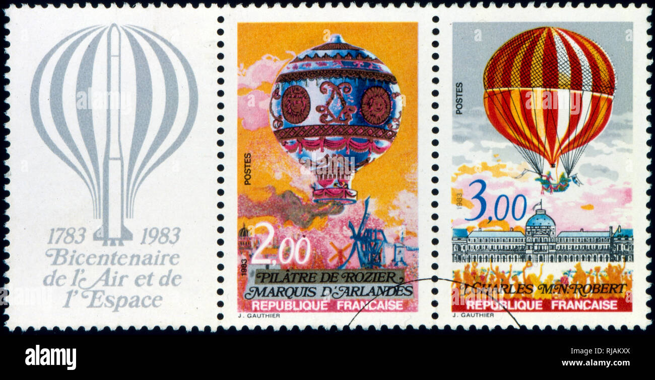 French postage stamps commemorating the Bi-centennial of the first balloon ascent in 1783 - Stock Image
