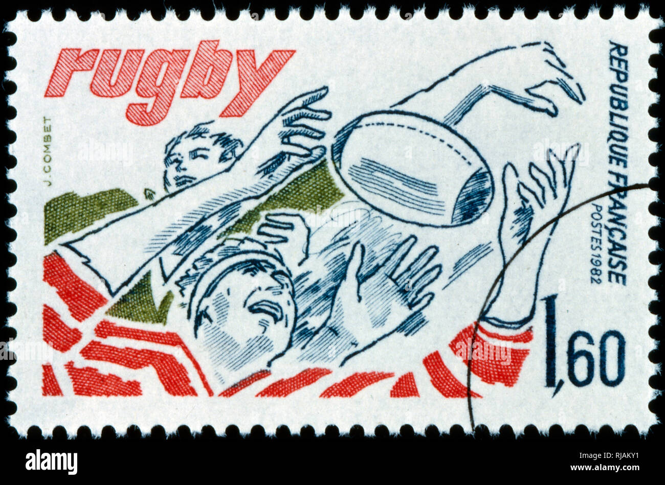 French postage stamp commemorating the sport of Rugby. 1982 - Stock Image
