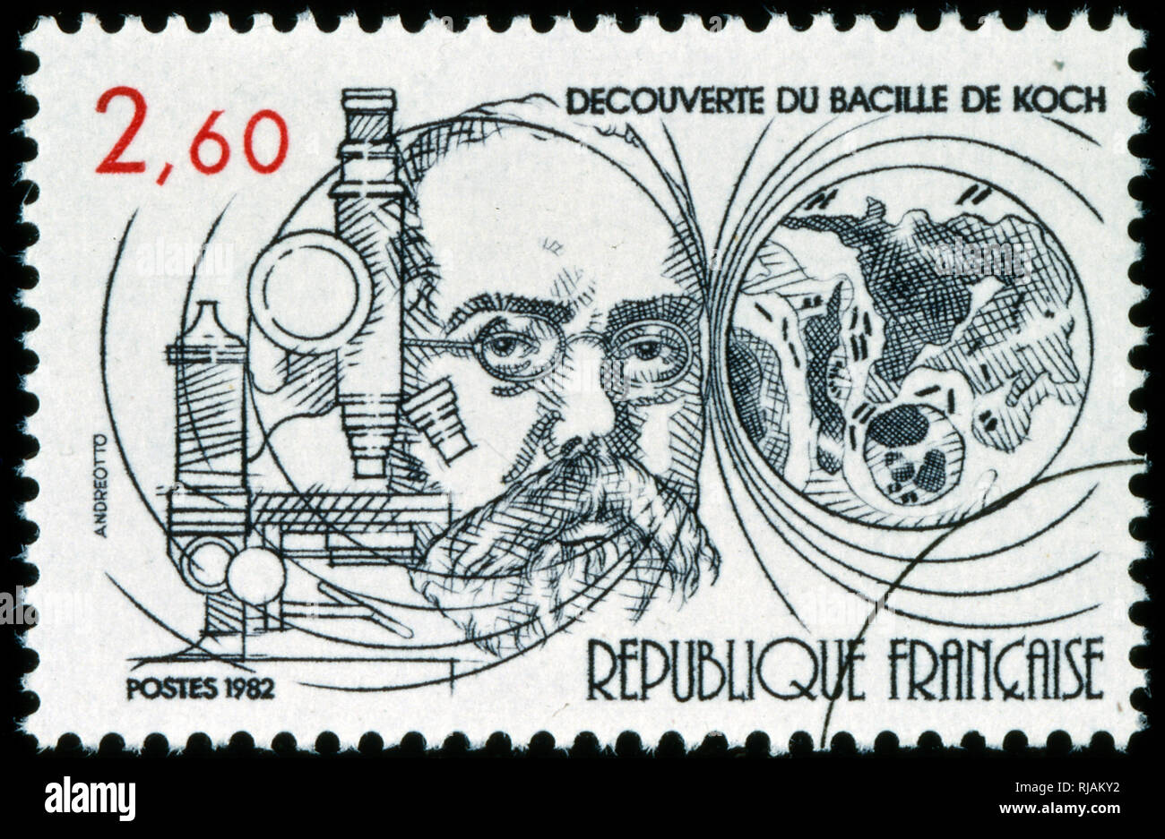 French postage stamp commemorating the work of Heinrich Hermann Robert Koch (1843 - 1910); German physician and microbiologist. As the founder of modern bacteriology, he identified the specific causative agents of tuberculosis, cholera, and anthrax and gave experimental support for the concept of infectious disease; For his research on tuberculosis, Koch received the Nobel Prize in Physiology or Medicine in 1905. - Stock Image