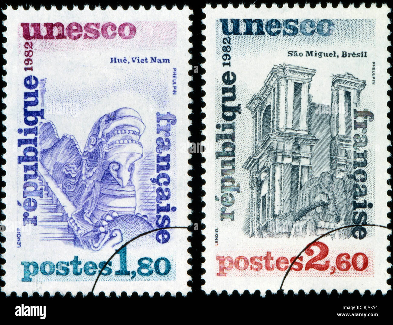 French postage stamp commemorating the designation of Hue in Vietnam and Sao Miguel in Brazil as UNESCO World Heritage Sites 1982 - Stock Image