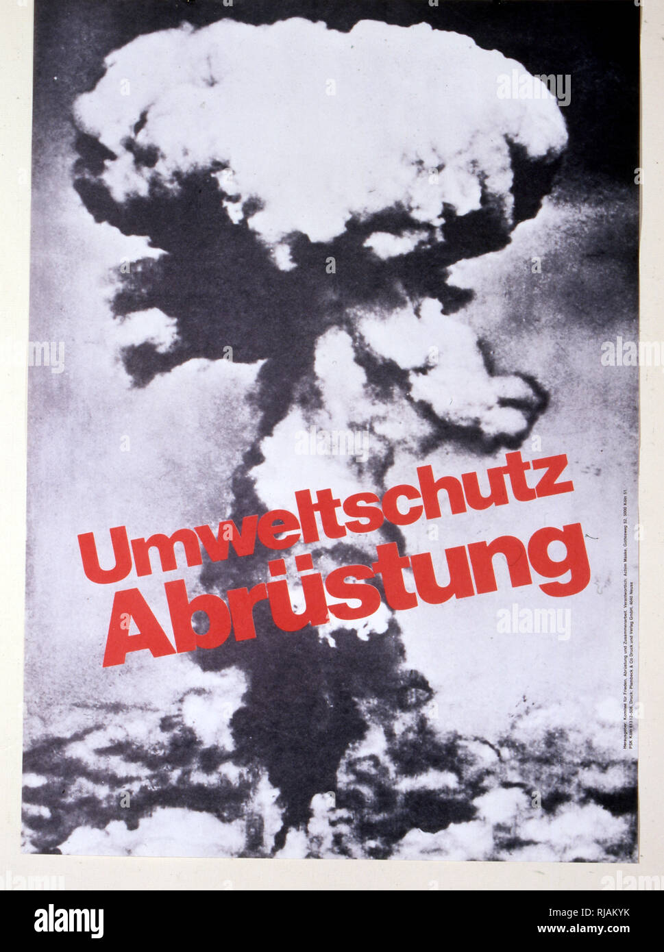 umweltschutz abrustung' 1983, anti-nuclear war, poster published by the German committee for freedom - Stock Image