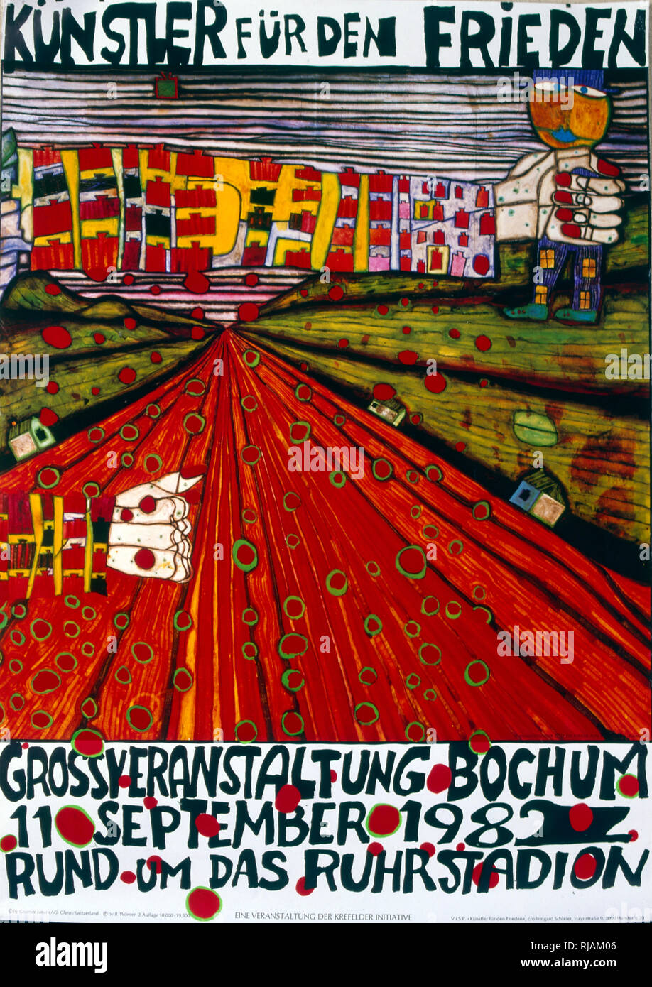 kunstler fur den frieden', stand up for peace. anti-nuclear war, poster 1982. On the occasion of a demonstration and benefit concert in the stadium in Bochum, September 11, 1982, against stationing Pershing-2 and Cruise Missiles in Central Europe. The poster was accompanied by a second one designed by Hundertwasser, listing all the names of participating artists and bands - Stock Image