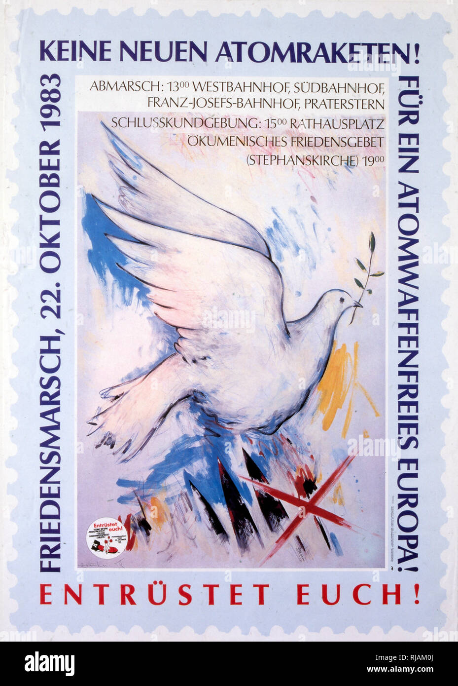 No new nuclear missiles' (keine neuen atomraketen), German,1983 poster, for a freedom march in berlin - Stock Image