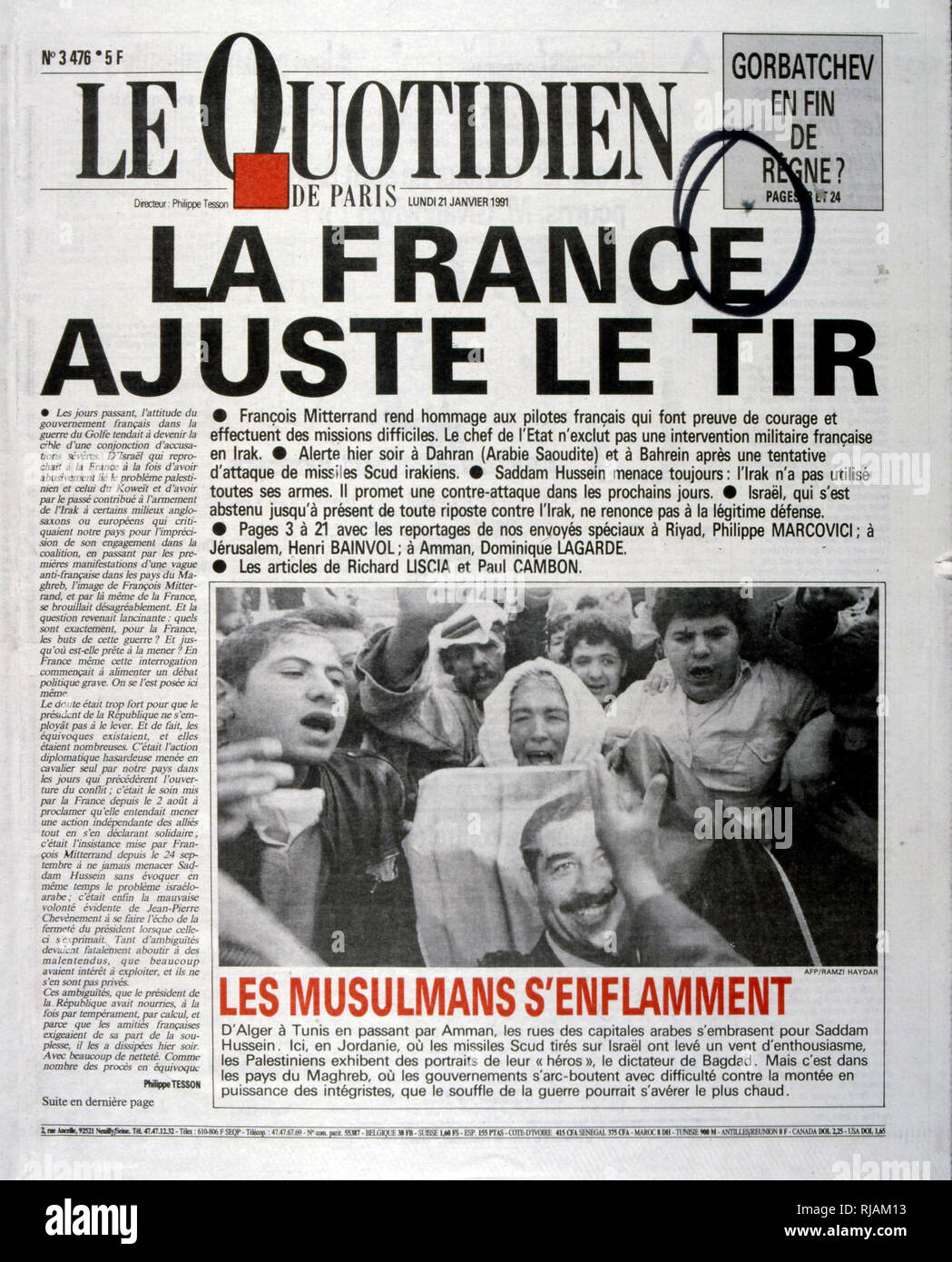 Headline in 'Le Quotidien' a French newspaper, 21st January 1991, concerning the loss of French pilots in the Gulf War (2 August 1990 - 28 February 1991). codenamed Operation Desert Shield and Operation Desert Storm, the war waged by coalition forces from 35 nations led by the United States against Iraq in response to Iraq's invasion and annexation of Kuwait. - Stock Image