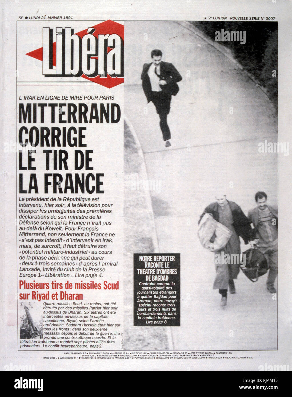 Headline in 'Liberation' a French newspaper, 21st January 1991, concerning French involvement in the Gulf War (2 August 1990 - 28 February 1991). codenamed Operation Desert Shield and Operation Desert Storm, the war waged by coalition forces from 35 nations led by the United States against Iraq in response to Iraq's invasion and annexation of Kuwait. - Stock Image