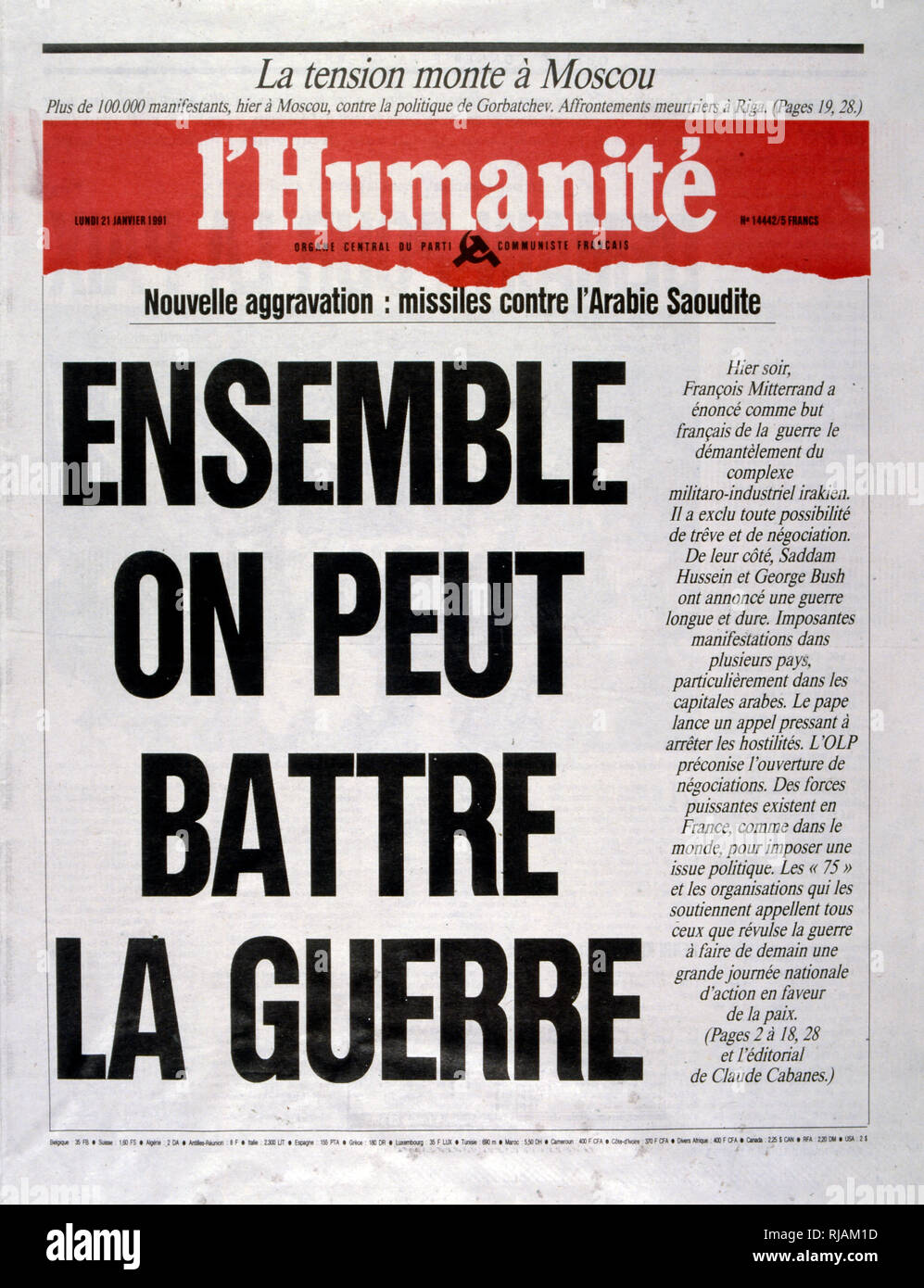 Headline in 'l'Humanite' a French left wing, newspaper, 21st January 1991, calling for protest against the escalating action in the Gulf War (2 August 1990 - 28 February 1991). codenamed Operation Desert Shield and Operation Desert Storm, the war waged by coalition forces from 35 nations led by the United States against Iraq in response to Iraq's invasion and annexation of Kuwait. - Stock Image