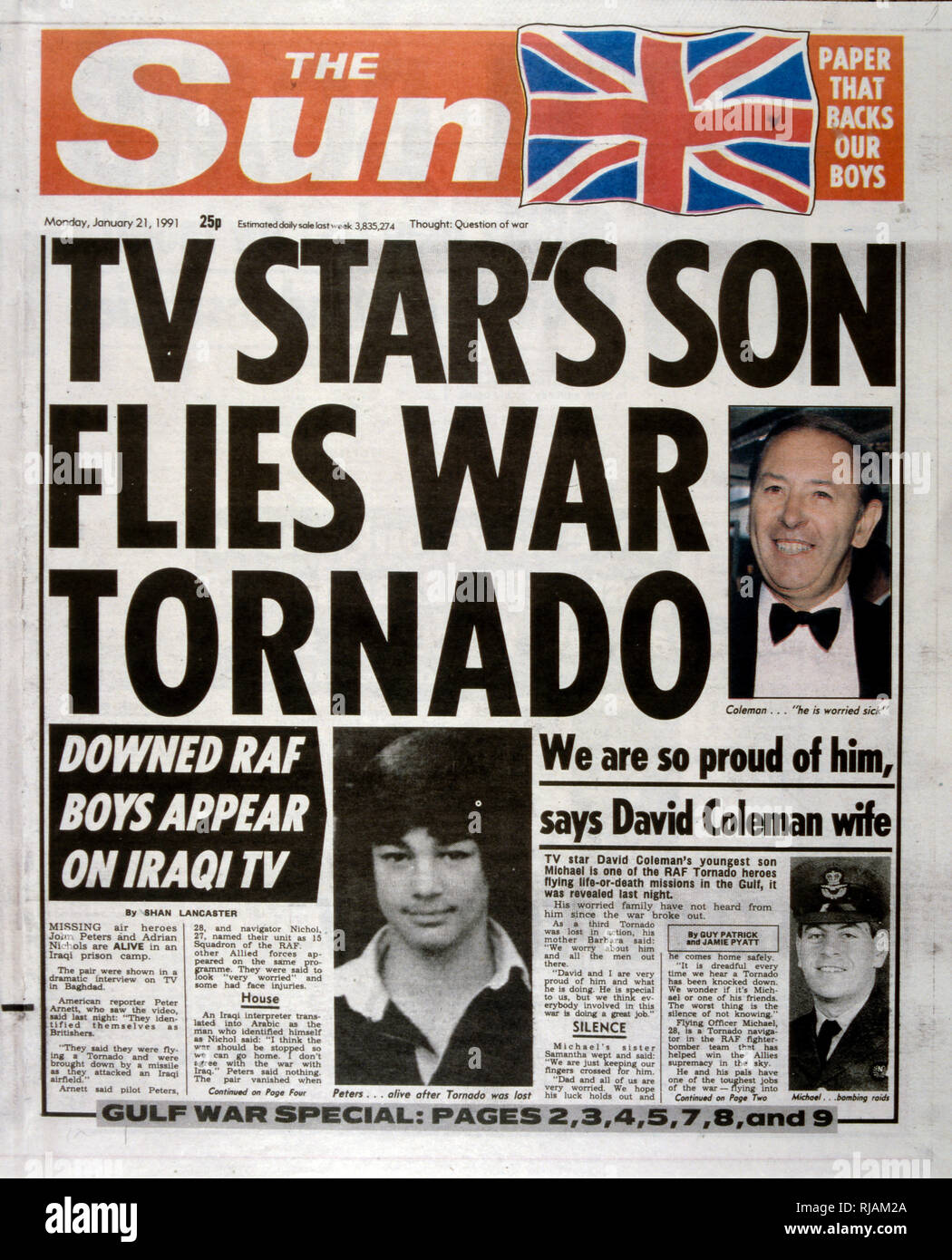 Headline in 'The Sun' a British tabloid newspaper, 21st January 1991, concerning British RAF pilots during the Gulf War (2 August 1990 - 28 February 1991). It depicts John Peters a captured RAF pilot and Michael Coleman the pilot son of a famous broadcaster, David Coleman - Stock Image
