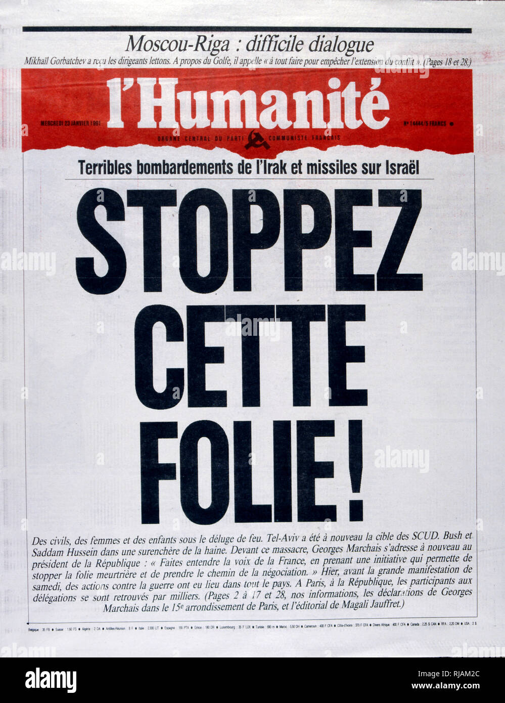 Headline in 'l'Humanite' a French newspaper, 23rd January 1991, concerning a missile attack on Israel during the Gulf War (2 August 1990 - 28 February 1991). codenamed Operation Desert Shield and Operation Desert Storm, the war waged by coalition forces from 35 nations led by the United States against Iraq in response to Iraq's invasion and annexation of Kuwait. the pictures show French filed commanders and the French War cabinet under President Mitterrand. - Stock Image