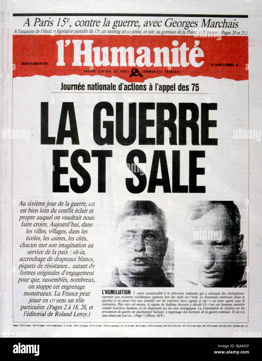 la guerre est sale (the dirty war), anti-war headline in 'l'Humanite' a French newspaper, 2nnd January 1991, concerning captured US pilots during the Gulf War (2 August 1990 - 28 February 1991). codenamed Operation Desert Shield and Operation Desert Storm, the war waged by coalition forces from 35 nations led by the United States against Iraq in response to Iraq's invasion and annexation of Kuwait. the pictures show French filed commanders and the French War cabinet under President Mitterrand. - Stock Image