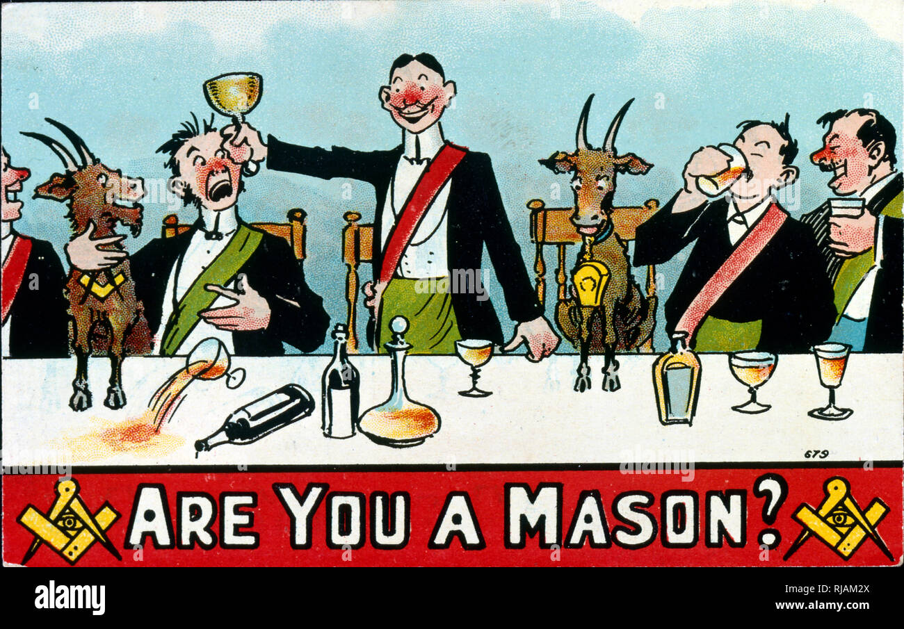 Edwardian British postcard satirising freemasons. Circa 1908. Freemasonry or Masonry consists of fraternal organisations that trace their origins to the local fraternities of stonemasons, which from the end of the fourteenth century - Stock Image