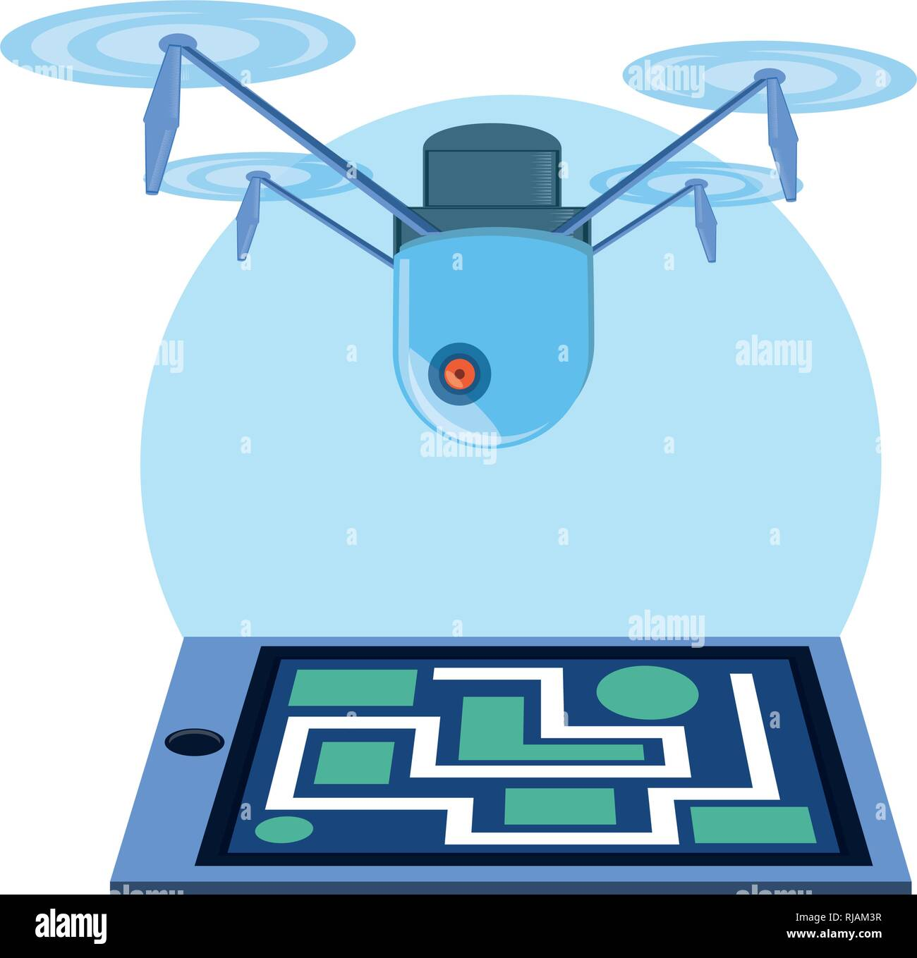 drone technology flying with paper map vector illustration design - Stock Vector