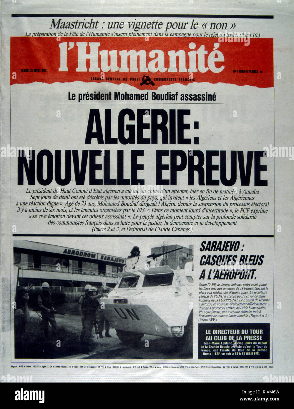 Front page of the  French newspaper 'L'Humanite' after the assassination of the Algerian President Boudaif in 1992. Mohamed Boudaif (1919 - 1992), Algerian political leader. In February 1992, after a 27-year exile, the military invited him back to become chairman of the High Council of State (HCE) of Algeria, a figurehead body for the military junta. On June 29, 1992, Boudiaf's term as HCE chairman was cut short when he was assassinated by a bodyguard during a televised public speech at the opening of a cultural center in Annaba, on his first visit outside Algiers as head of state. - Stock Image