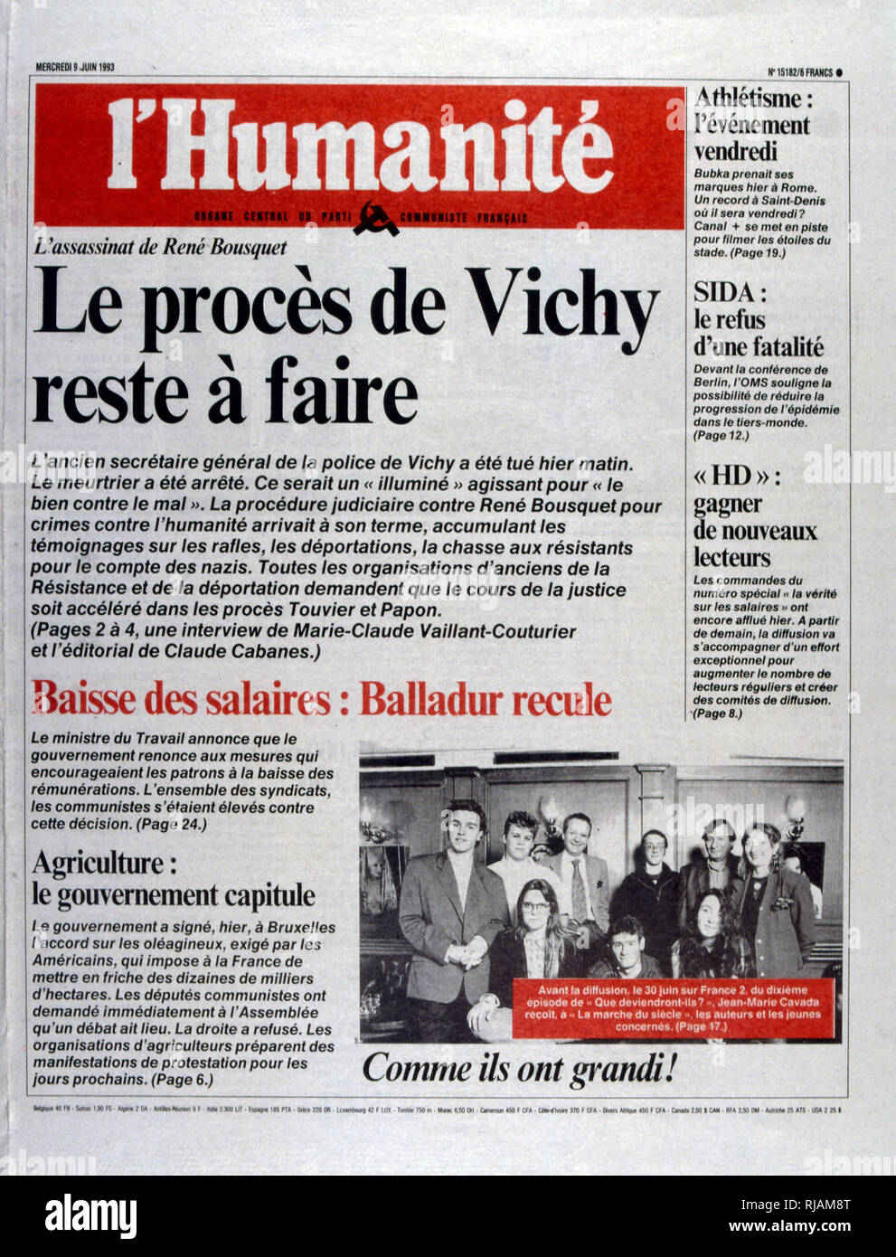 Front page of the French publication 'L'Humanite' reporting the assassination of Rene Bousquet, June 1993. Rene Bousquet (1909 - 8 June 1993); high-ranking French political appointee who served as secretary general to the Vichy regime police from May 1942 to 31 December 1943. After receiving amnesty in 1959, Bousquet became active again in politics, supporting left-wing politicians through the 1970s. He was indicted in 1991 for his decisions during the Vel' d'Hiv Roundup in 1942, which led to Jewish children being deported and killed. Bousquet was assassinated in 1993 by Christian Didier short - Stock Image