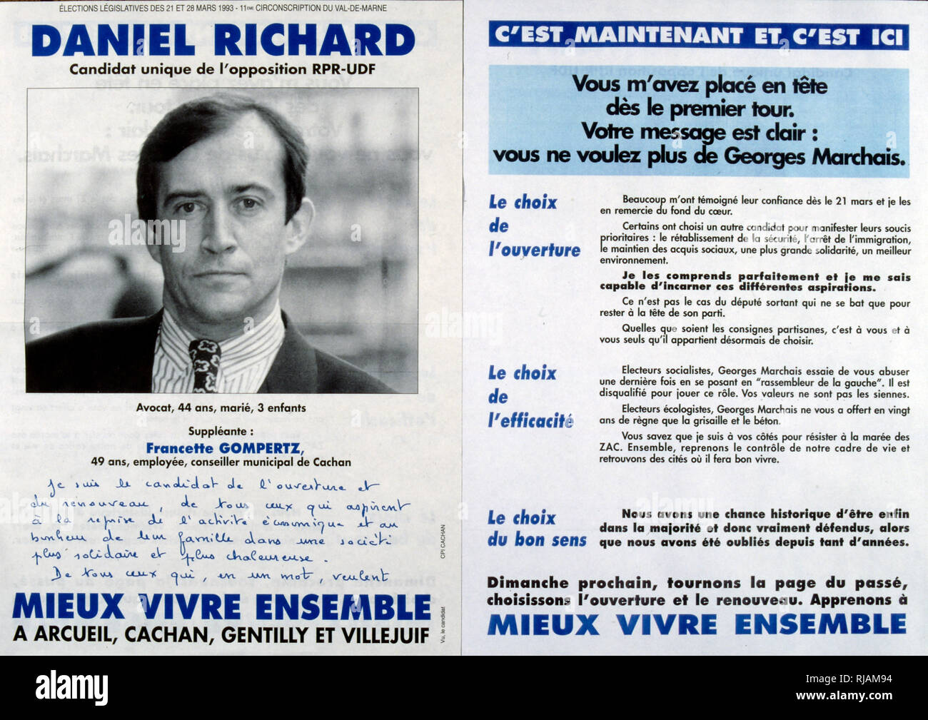 Election poster for Daniel Richard French political candidate for the National Assembly for the UDF party 1993. The Union for French Democracy (French: Union pour la Democratie Francaise, UDF) was a centre-right political party in France. It was founded in 1978 as an electoral alliance to support President Valery Giscard d'Estaing in order to counterbalance the Gaullist preponderance over the political right in France - Stock Image