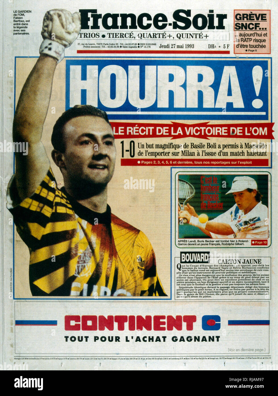 French publication 'France-Soir' reporting the Marseilles Football club winning the UEFA Champions League in 1993. The highlight of the Marseilles football club's history was winning the new format UEFA Champions League in 1993. Basile Boli scored the only goal against Italy's Milan in the final held in Munich's Olympic Stadium. This triumph, however, was followed by a decade of decline. In 1994, due to financial irregularities and a match fixing scandal involving then president Bernard Tapie - Stock Image
