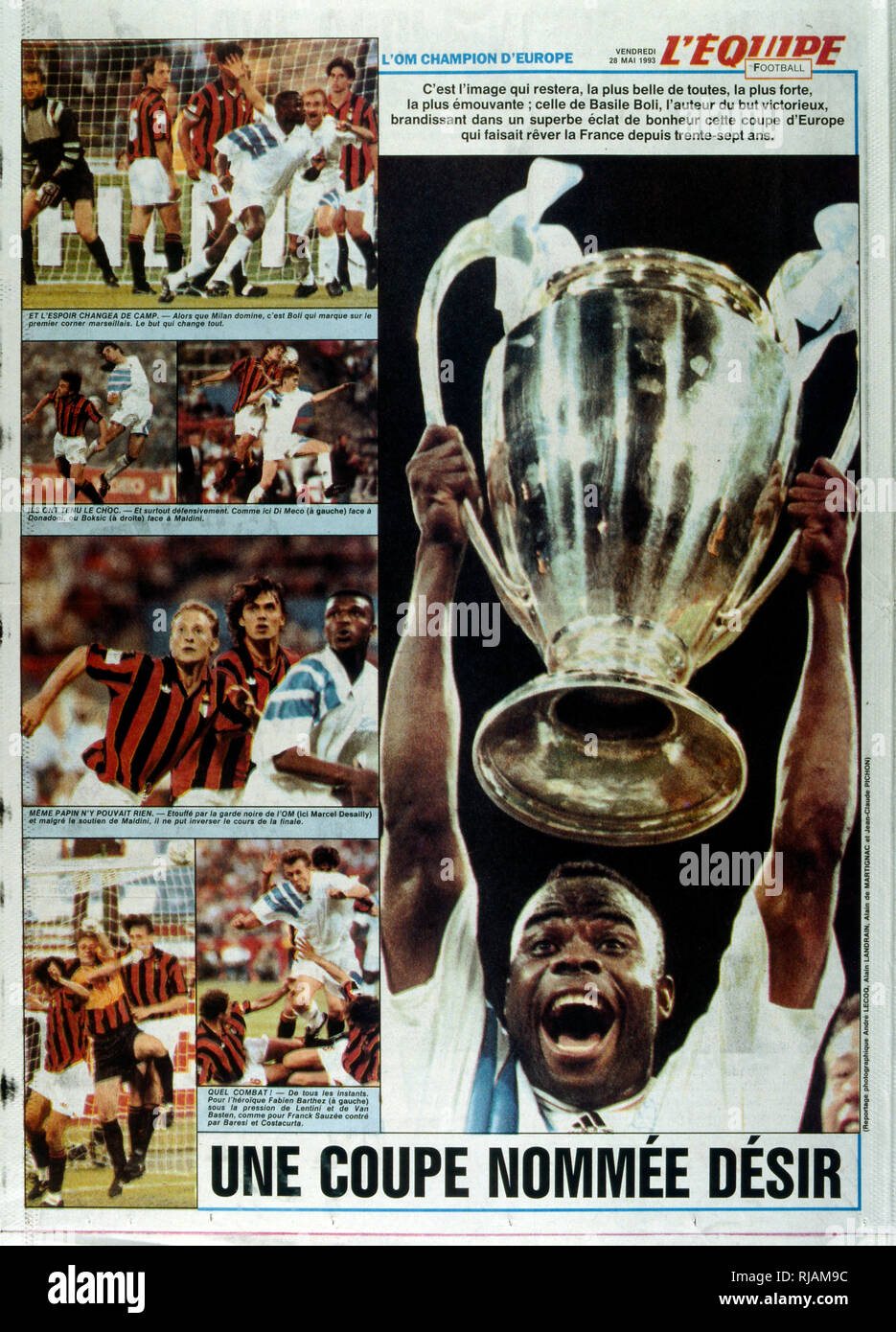 French publication 'L'Equipe' reporting the Marseilles Football club winning the UEFA Champions League in 1993. The highlight of the Marseilles football club's history was winning the new format UEFA Champions League in 1993. Basile Boli scored the only goal against Italy's Milan in the final held in Munich's Olympic Stadium. This triumph, however, was followed by a decade of decline. In 1994, due to financial irregularities and a match fixing scandal involving then president Bernard Tapie - Stock Image