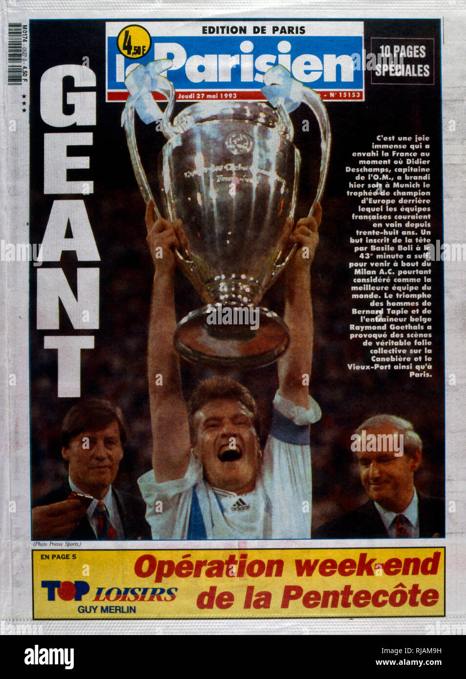 French publication 'Le Parisien' reporting the Marseilles Football club winning the UEFA Champions League in 1993. The highlight of the Marseilles football club's history was winning the new format UEFA Champions League in 1993. Basile Boli scored the only goal against Italy's Milan in the final held in Munich's Olympic Stadium. This triumph, however, was followed by a decade of decline. In 1994, due to financial irregularities and a match fixing scandal involving then president Bernard Tapie - Stock Image