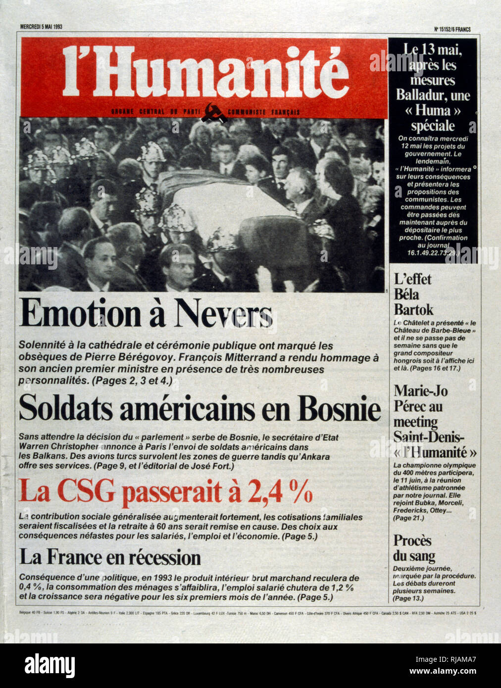 Front page of the French newspaper 'L'Humanite' after the funeral of Pierre Beregovoy, May 1993. Pierre Eugene Beregovoy (1925 - 1 May 1993) was a French politician who served as Prime Minister of France under President Francois Mitterrand from 2 April 1992 to 29 March 1993. He committed suicide. - Stock Image