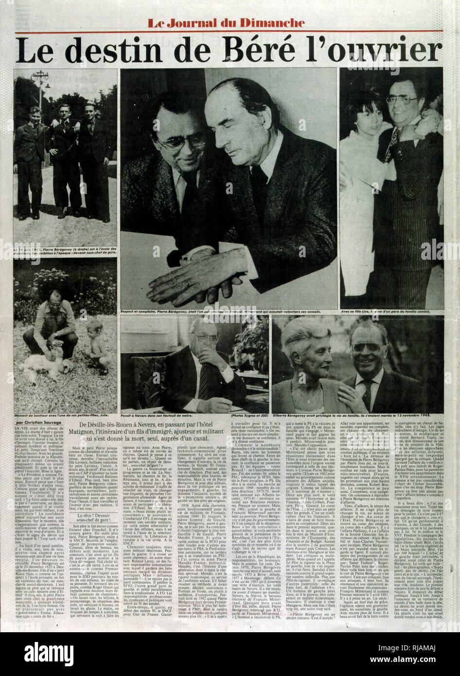 page of the French newspaper 'Le Journal du Dimanche' after the suicide of Pierre Beregovoy, May 1993. Pierre Eugene Beregovoy (1925 - 1 May 1993) was a French politician who served as Prime Minister of France under President Francois Mitterrand from 2 April 1992 to 29 March 1993. - Stock Image