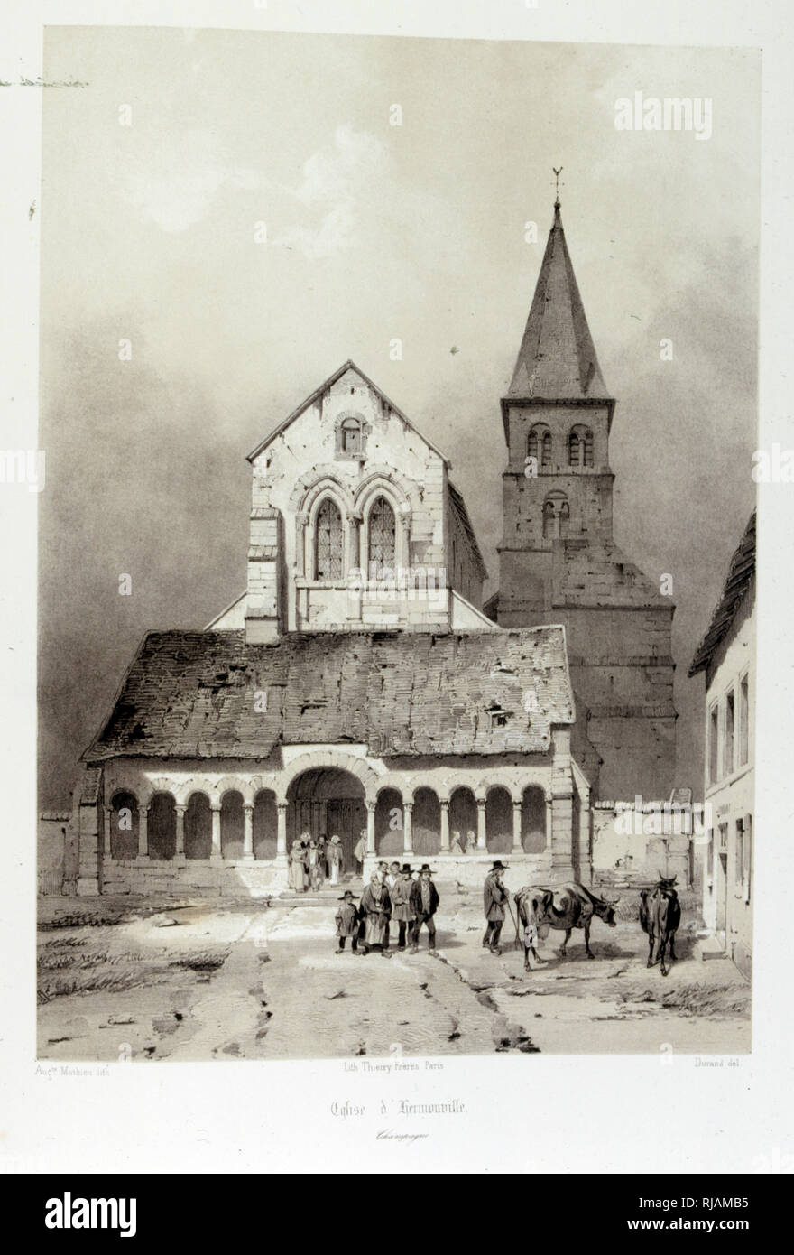 The church of Saint-Sauveur Hermonville, a Romanesque church built from the twelfth to the thirteenth century in Hermenonville in the department of Marne, France, 1857, Illustrated in 'Voyages pittoresques et romantiques' (Picturesque and romantic journeys in ancient France), by Isidore Taylor, (baron Taylor) 1857. Stock Photo