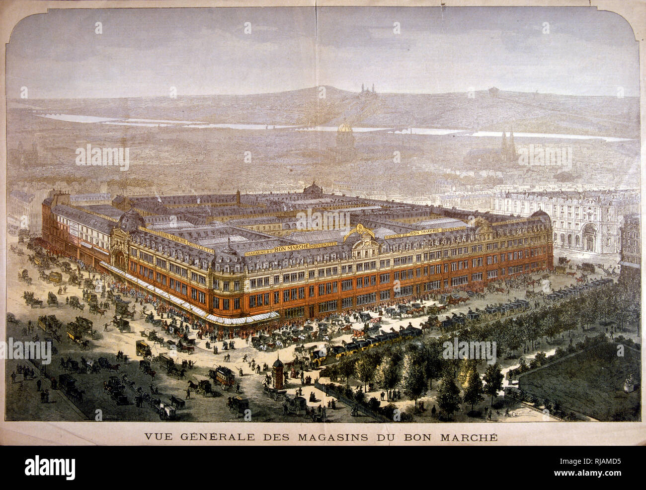 19th century illustration showing, Le Bon Marche department store, in Paris. Founded in 1838 and revamped almost completely by Aristide Boucicaut in 1852, it was the first ever modern department store. Now the property of LVMH. - Stock Image