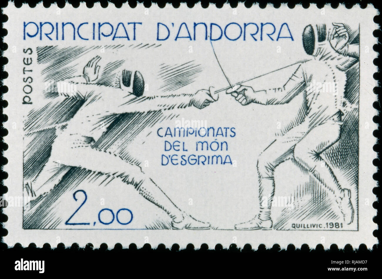 Andoran postage stamp commemorating the world fencing championship 1982 - Stock Image