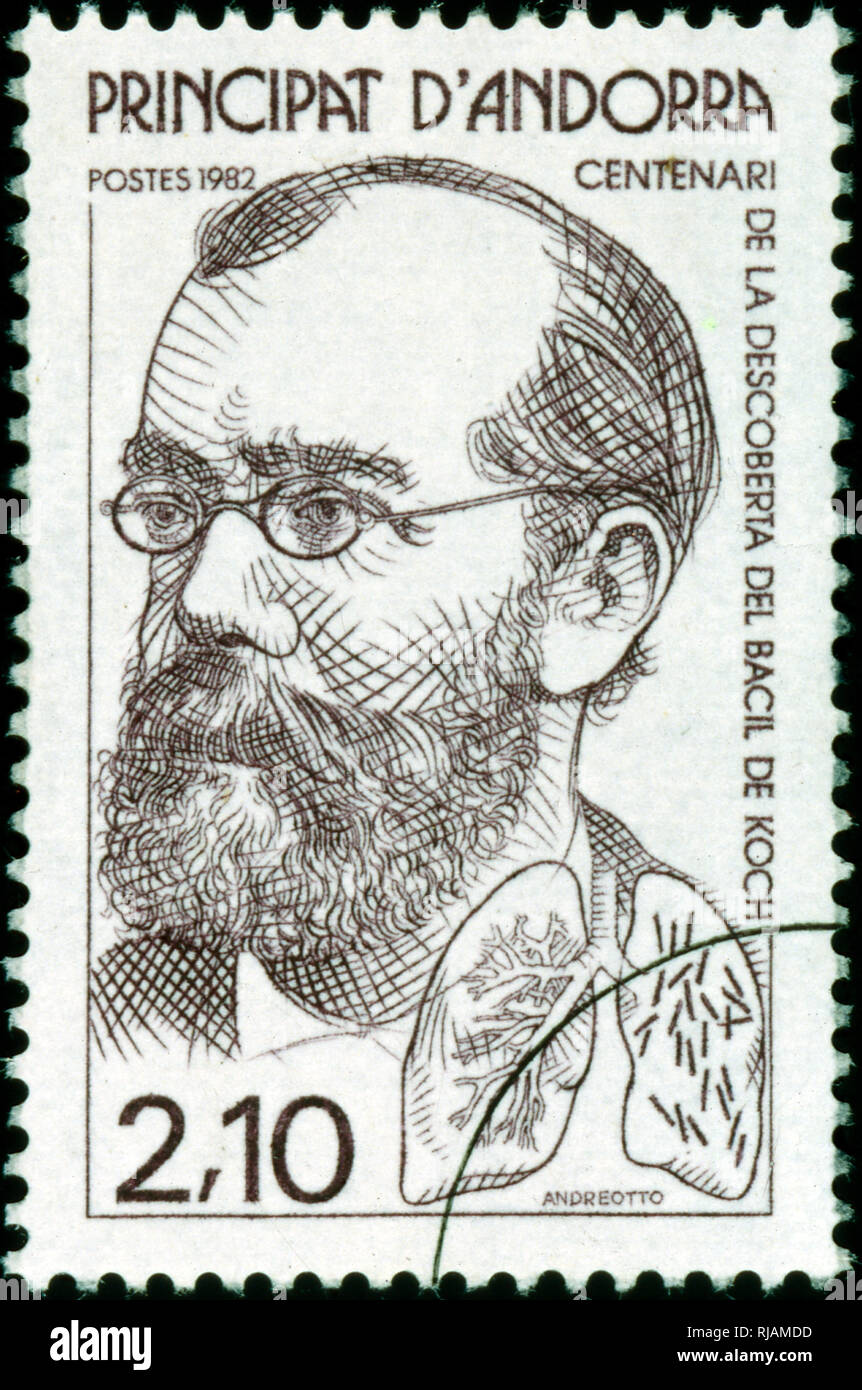 Andoran postage stamp commemorating the work of Heinrich Hermann Robert Koch (1843 - 1910); German physician and microbiologist. As the founder of modern bacteriology, he identified the specific causative agents of tuberculosis, cholera, and anthrax and gave experimental support for the concept of infectious disease; For his research on tuberculosis, Koch received the Nobel Prize in Physiology or Medicine in 1905. - Stock Image