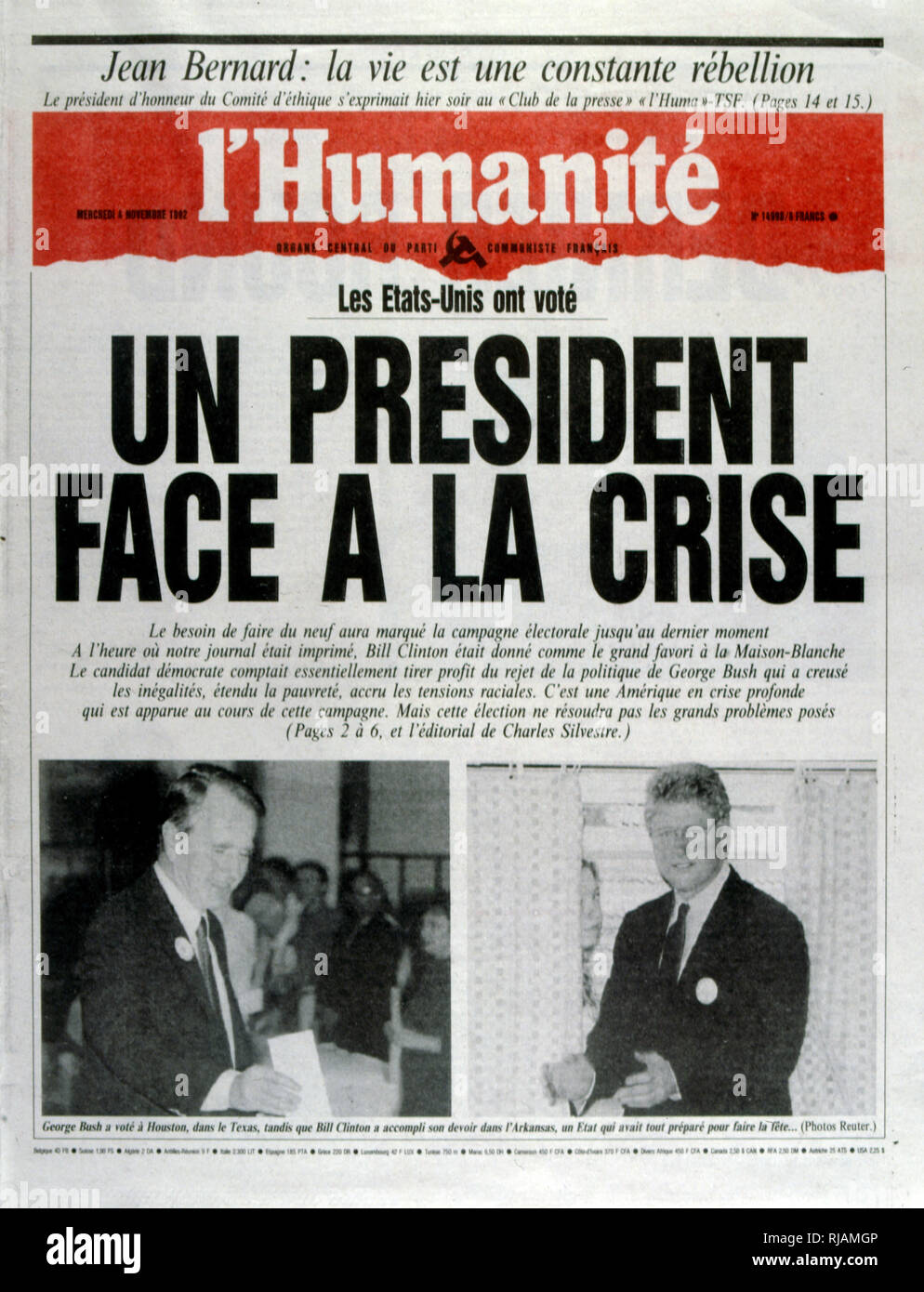 Headline in the French newspaper 'L'Humanite' concerning the United States Presidential Election November 1992. Incumbent President George Bush lost against Governor Bill Clinton. - Stock Image