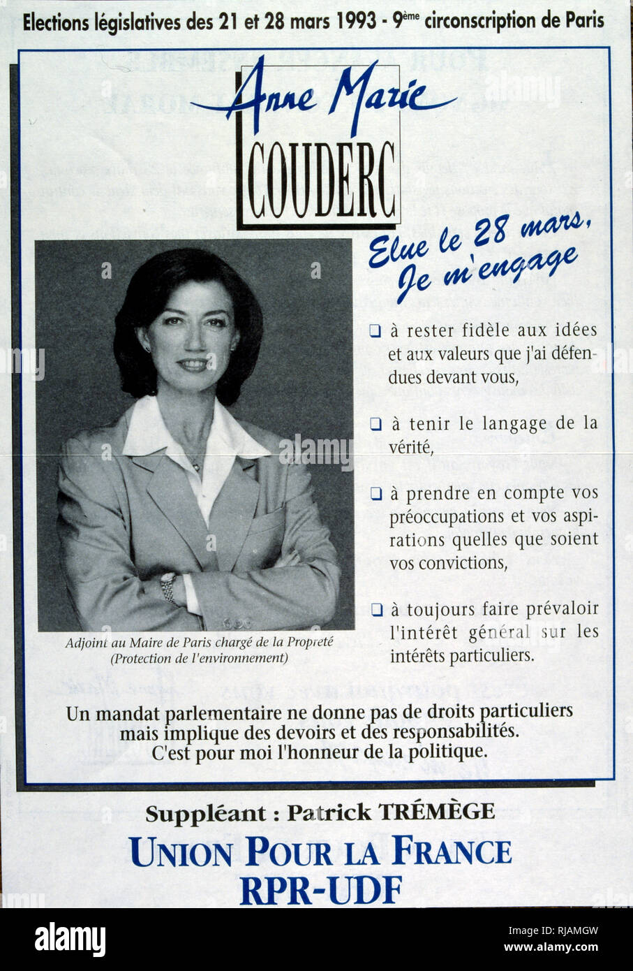 1993 Election poster for Anne-Marie Couderc, born February 13, 1950, politician and leader of French companies. Member of Parliament from 1993 to 1995, Secretary of State and Minister responsible for Employment from 1995 to 1997, she is president of Presstalis1,2 from 2010 to 2017 and has been acting President of Air France-KLM since May 15, 2018. - Stock Image