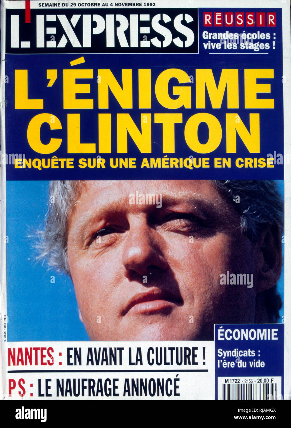Headline in the French publication 'L'Express' concerning the United States Presidential Election November 1992. features the 'enigma' of Governor Bill Clinton. - Stock Image