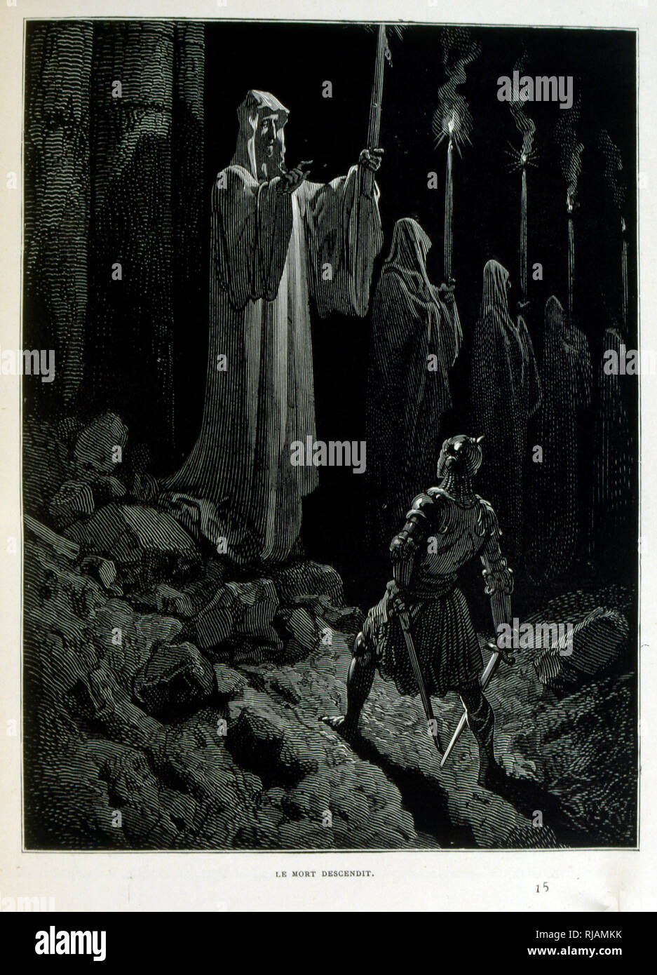 Croque-Mitaine; 1863 illustration, by Gustave Dore (1832 - 1883); French artist, printmaker, illustrator. Croque-Mitaine (The bogeyman) a maleficent character presented to children to scare them and thus make them wiser. - Stock Image
