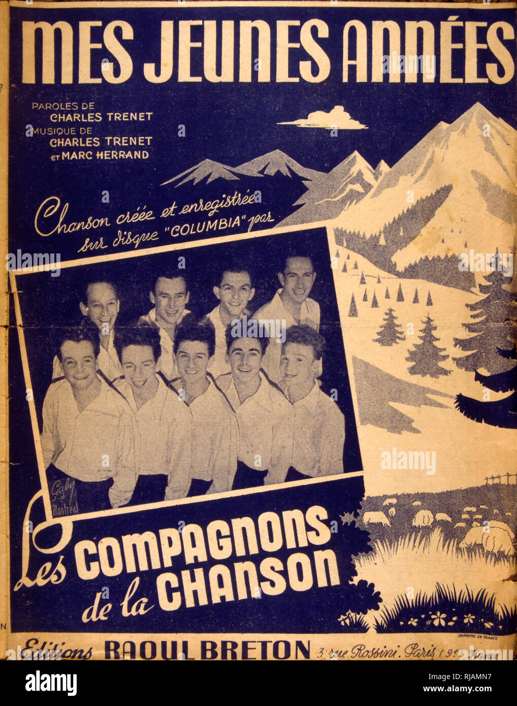 Songbook cover for 'Mes Jeunes Annees' a 1947 French song by Les Compagnons des Chansons - Stock Image