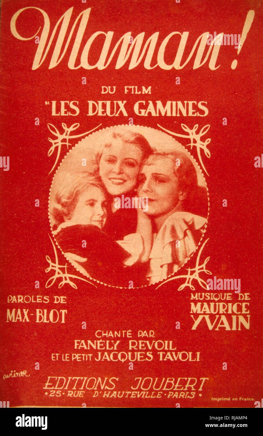 1942 Songbook cover for 'Les Deux Gamines' a 1936 French film. Music by Max BLOT and Maurice YVAIN. Ginette and Gaby, whose mother disappeared during a shipwreck and whose father is unworthy - Stock Image