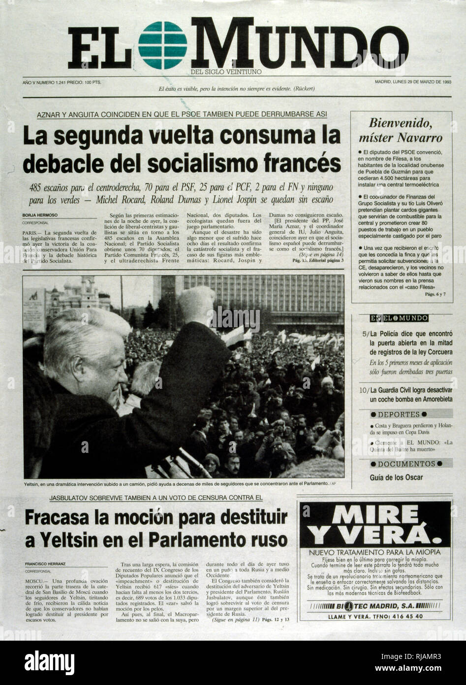 Photograph in a Spanish Newspaper showing Boris Yeltsin, on a tank to defy the August coup in Russia, 1991. Boris Nikolayevich Yeltsin (1931 - 2007) was a Soviet and Russian politician and the first President of the Russian Federation, serving from 1991 to 1999 - Stock Image