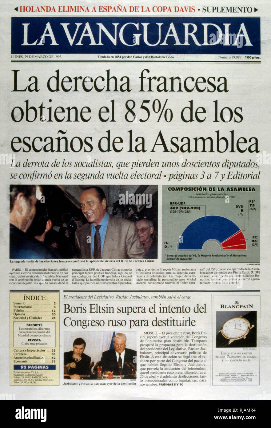 Spanish publication 'La Vanguardia' Publishes the results of the second round of the French legislative elections in March 1993 to elect the tenth National Assembly of the Fifth Republic. The election was a landslide victory for the RPR-UDF alliance, while the PS and their left-wing allies received their worst result since the 1960s - Stock Image