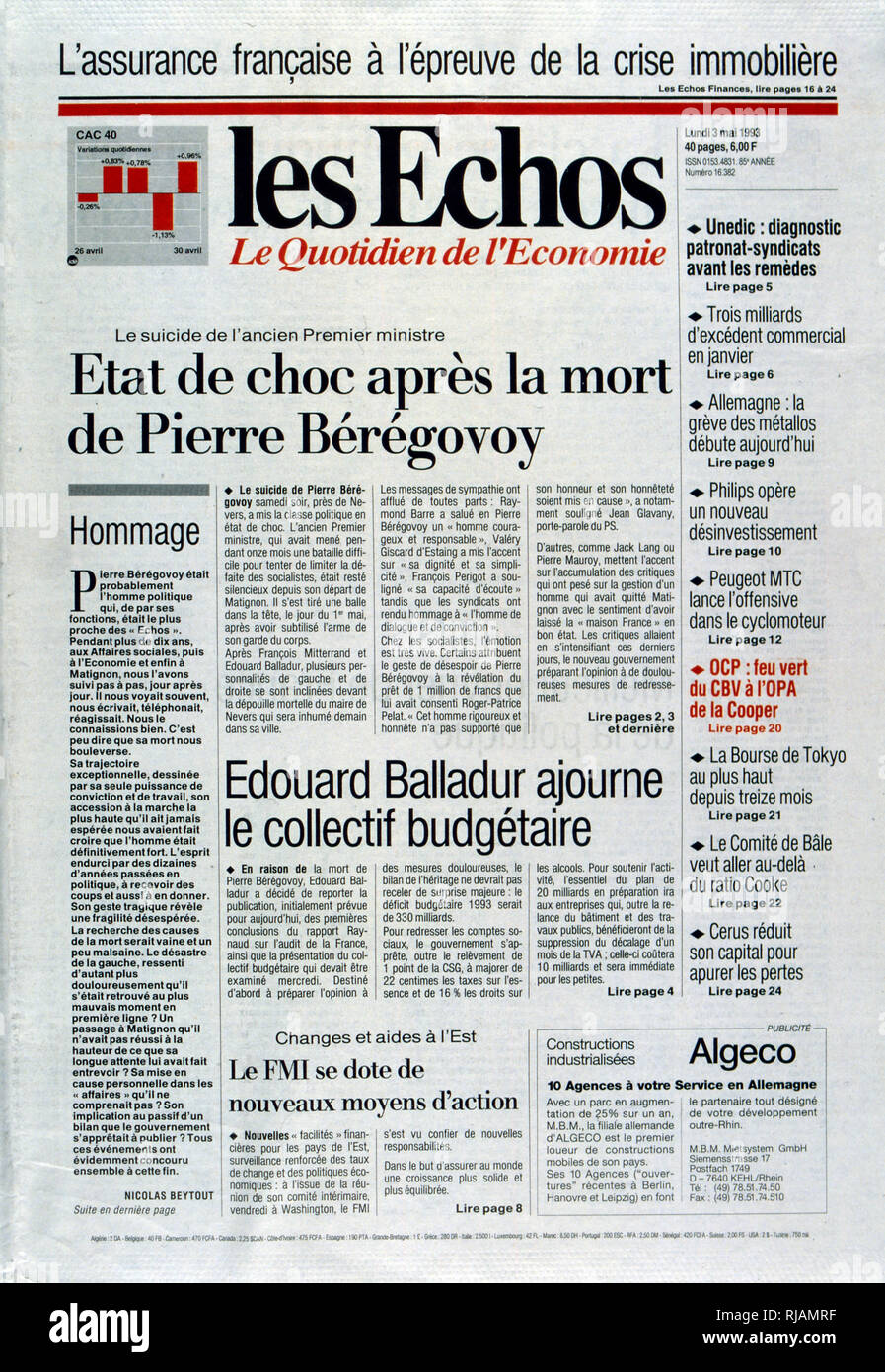 Cover of the French publication 'Les Echos' after the suicide of Pierre Beregovoy, May 1993. Pierre Eugene Beregovoy (1925 - 1 May 1993) was a French politician who served as Prime Minister of France under President Francois Mitterrand from 2 April 1992 to 29 March 1993. He committed suicide. His successor as Prime Minister, Edouard Balladur, is seen leaving the funeral in Nevers. - Stock Image