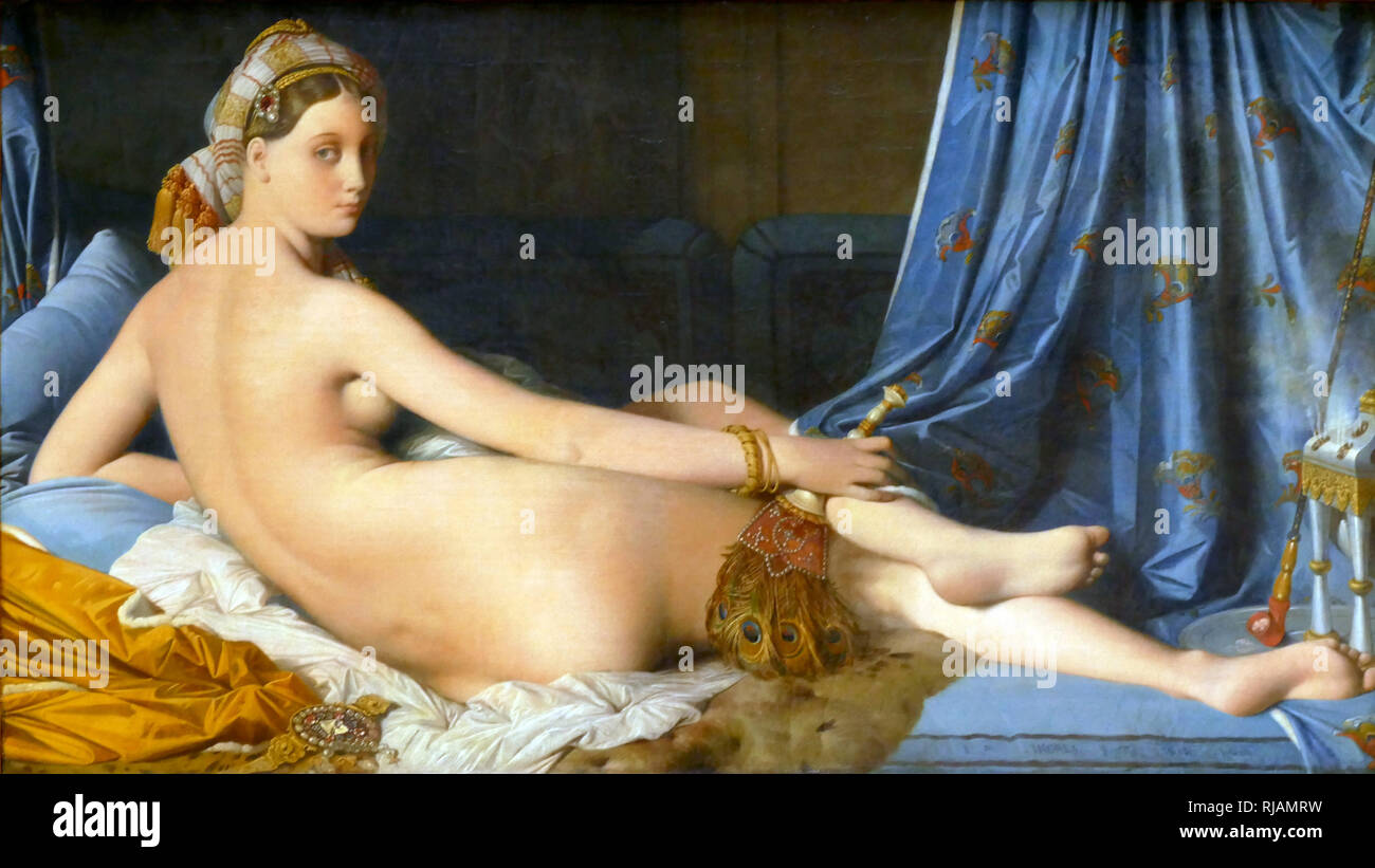 Grande Odalisque' oil painting, 1814 by Jean Auguste Dominique Ingres, (1780 - 1867). The work depicts an odalisque, or concubine. Ingres' contemporaries considered the work to signify Ingres' break from Neoclassicism, indicating a shift toward exotic Romanticism - Stock Image