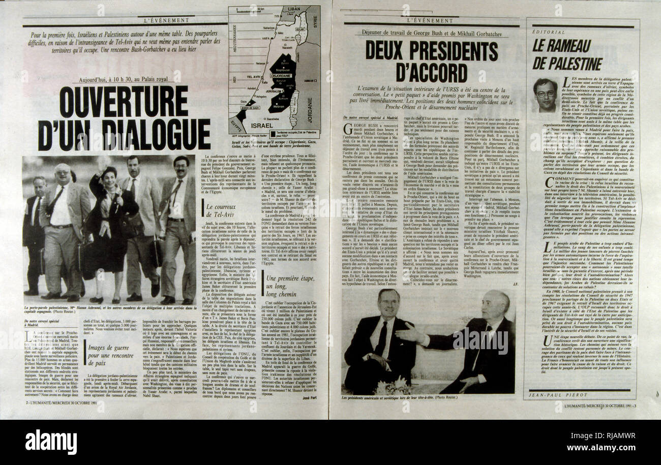 French publication 'L'Evenement' reporting on the Madrid Conference;  a peace conference, held from 30 October to 1 November 1991 in Madrid, hosted by Spain and co-sponsored by the United States and the Soviet Union. It was an attempt by the international community to revive the Israeli-Palestinian peace process through negotiations, involving Israel and the Palestinians as well as Arab countries, including Jordan, Lebanon and Syria. - Stock Image
