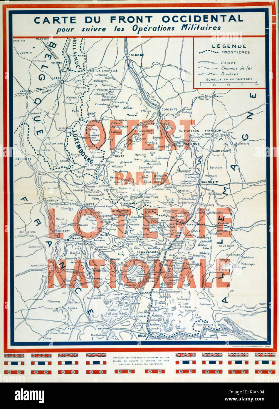 Map Of Germany In 1940.Map Issued By The French National Lottery Showing The Attack On