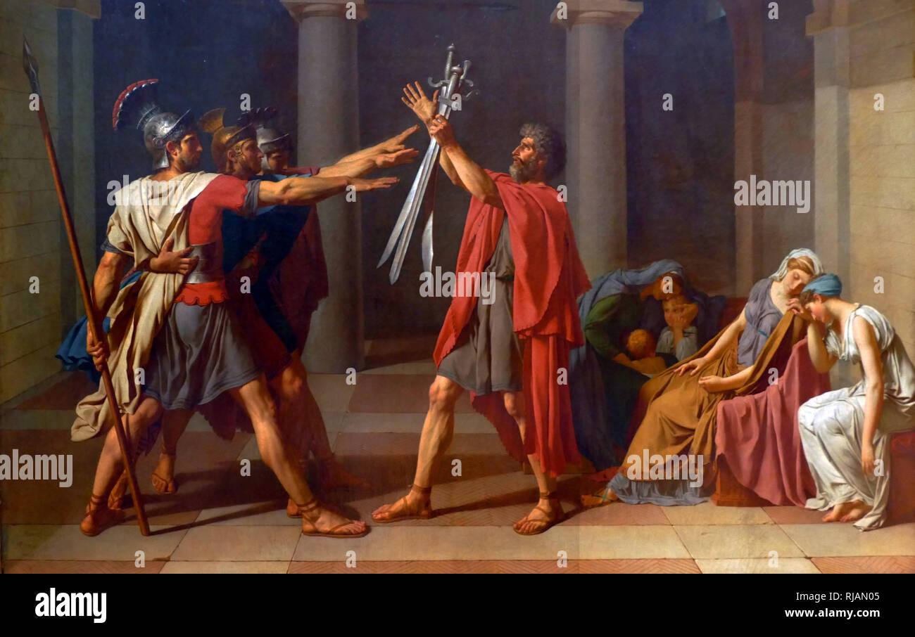 Oath of the Horatii (Le Serment des Horaces),  1784 painting, by the French artist Jacques-Louis David. Louvre in Paris. Neoclassical style. It depicts a scene from a Roman legend about a dispute between two warring cities, Rome and Alba Longa, and stresses the importance of patriotism and masculine self-sacrifice for one's country. Instead of the two cities sending their armies to war, they agree to choose three men from each city; the victor in that fight will be the victorious city. - Stock Image