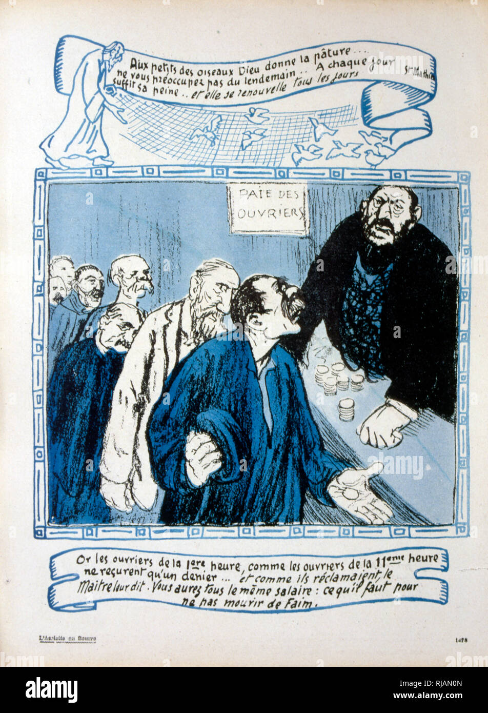 French caricature of a wealthy factory owner handing out minimal wages to a line af workers. 1906 - Stock Image