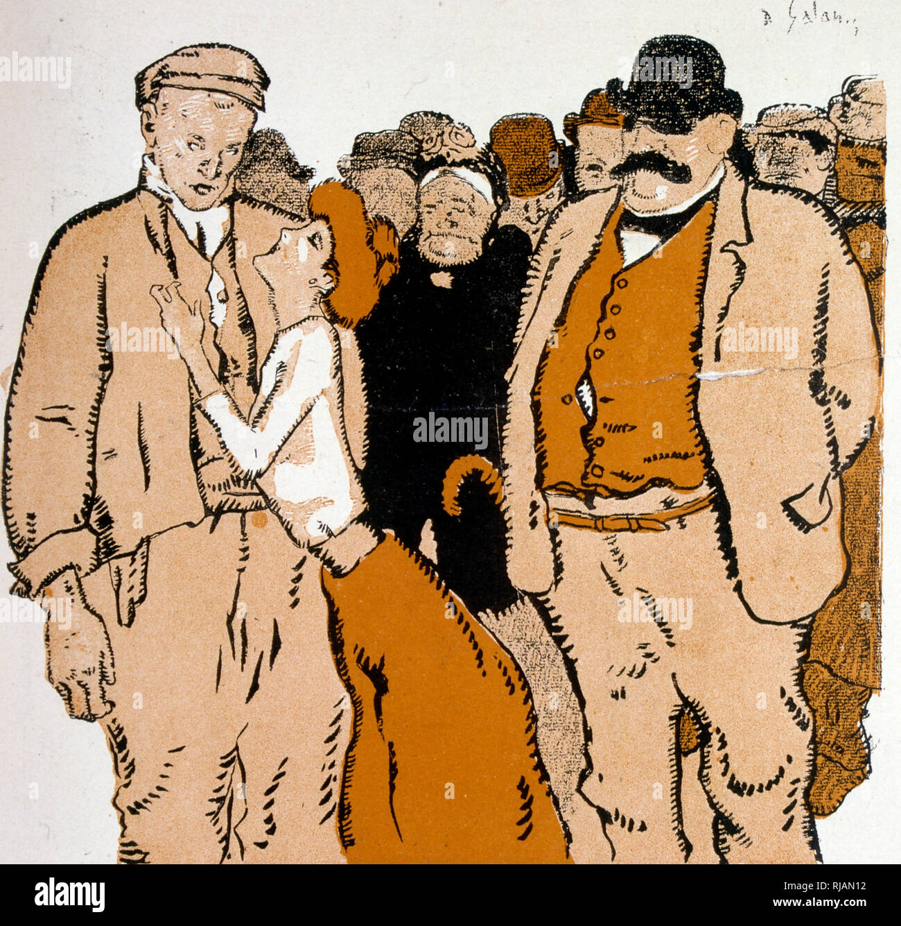 French caricature showing a woman clutching at the jacket of a man as a crowd looks on 1906 - Stock Image