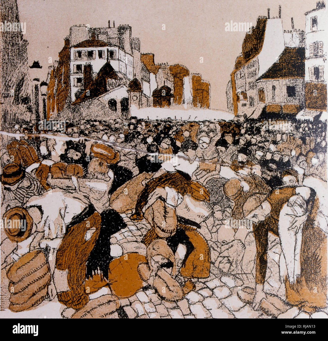 French caricature showing a crowd fighting for bread during a food riot 1906 - Stock Image