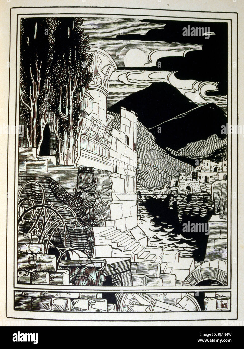 The ruins of Sodom, from the book Judah illustrated by Ephraim Moses Lilien (1874-1925). Lilian is considered as the father of Zionist iconography, created in the Jugendstil (German art nouveau) style.  He illustrated' Juda' (1900), a book of biblical poetry by a Christian friend, Borries Freiherr von Munchausen.' - Stock Image