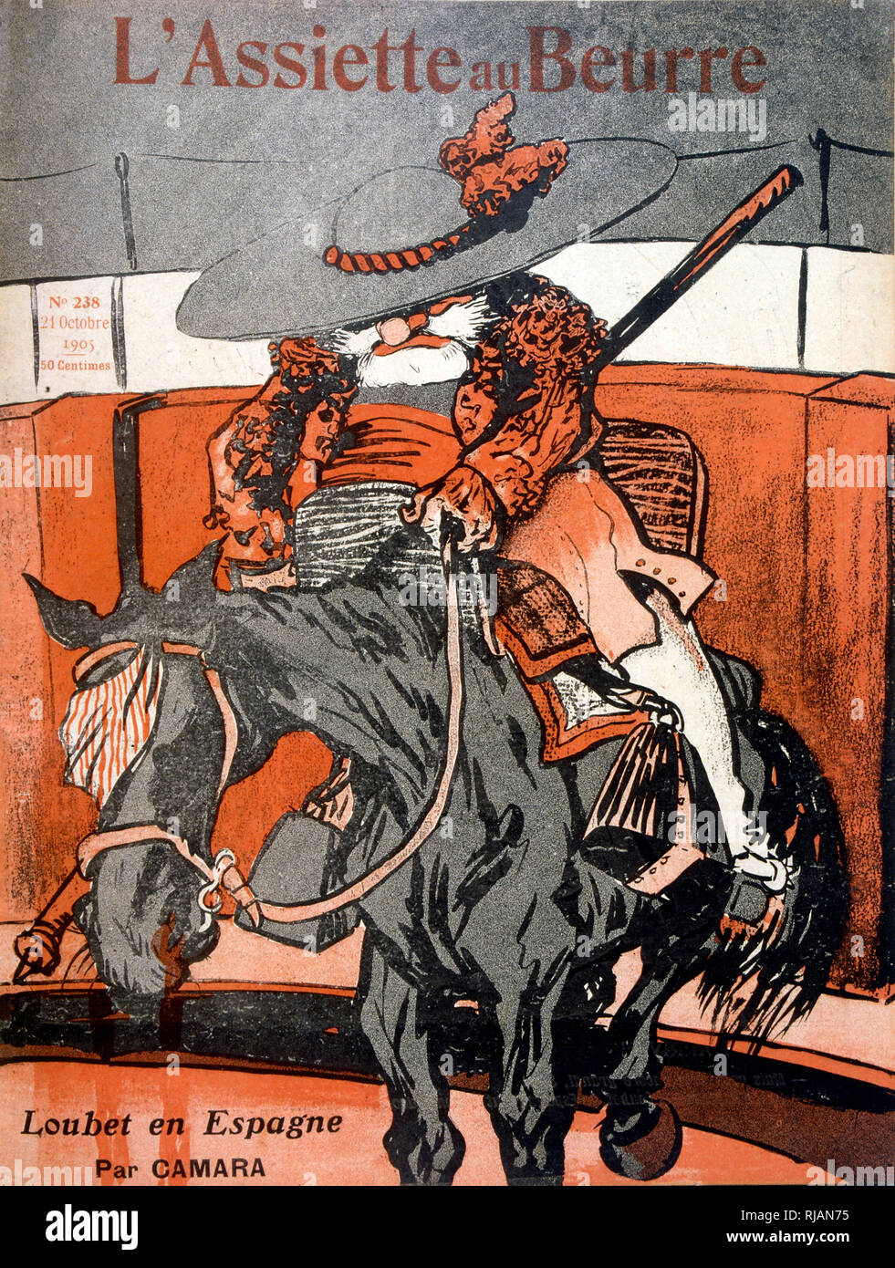 French illustration of an old Spaniard on a horse 1905 - Stock Image