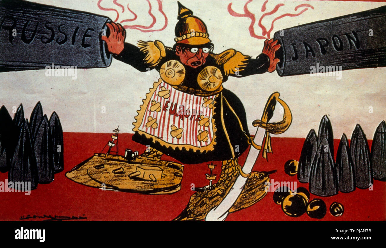 French illustration symbolising Europe separating the aggressive forces of Russia and Japan prior to the Russo-Japanese war 1904 - Stock Image