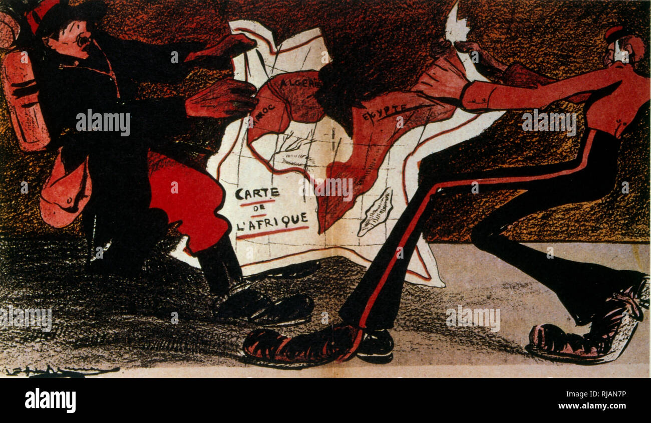 French illustration symbolising Anglo-French rivalry in Africa 1904 - Stock Image
